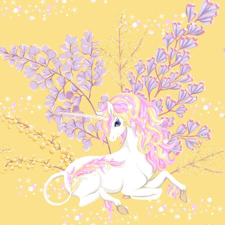 Seamless pattern, background with unicorn and fantsatic flowers and glitter. Vector illustration. In pink and yellow colors.  イラスト・ベクター素材
