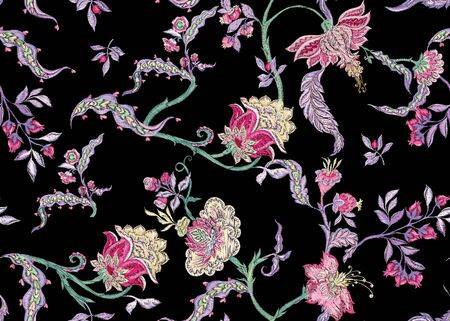 Fantasy floral seamless pattern in jacobean embroidery imitation, vintage, old, retro style. Vector illustration