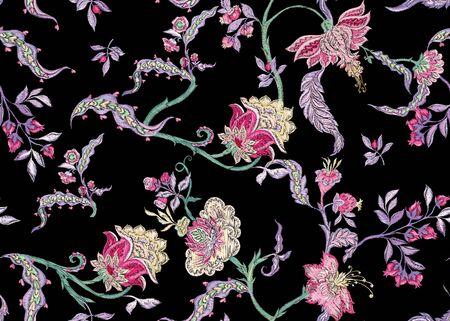 Motif floral sans couture fantaisie en imitation de broderie jacobéenne, style vintage, ancien et rétro. Illustration vectorielle
