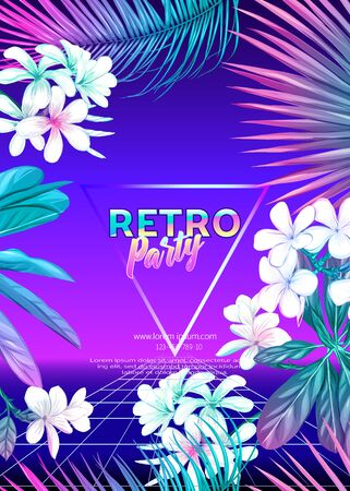 ..Retro Futurism. Vector futuristic synth wave illustration. Rave party Flyer design template, background with tropical plants in 1980s style. 80s Retro poster, retrowave Illusztráció