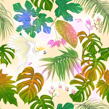 Seamless pattern, background. with tropical plants and flowers with white orchid and tropical birds. Colored vector illustration in neon, fluorescent colors on soft yellow background.. Vector Illustration