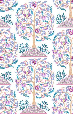 Seamless pattern with stylized ornamental flowers in retro, vintage style. Jacobean embroidery. Colored vector illustration In pink, blue, ultraviolet colors. Isolated on white background.