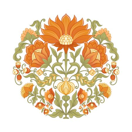 Tradition mughal motif, fantasy flowers in retro, vintage style. Element for design. Vector illustration. Isolated on white background..