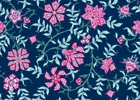 Ethnic seamless pattern in kalamkari style, fantasy floral pattern. Colored vector illustration without gradients and transparency. On navy blue background. Vetores