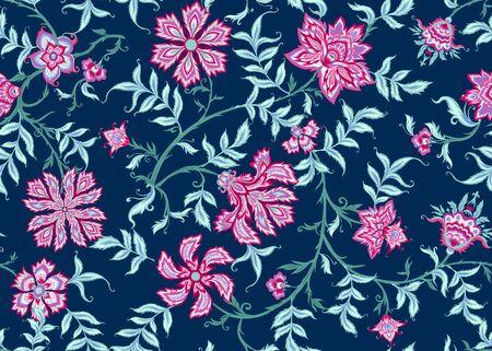 Motivo etnico senza cuciture in stile kalamkari, fantasia floreale. Illustrazione vettoriale colorata senza sfumature e trasparenza. Su sfondo blu navy. Vettoriali