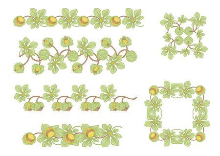 Huzelnut color illustration In art nouveau style, vintage, old, retro style. Vector illustration. Banque d'images - 133840056