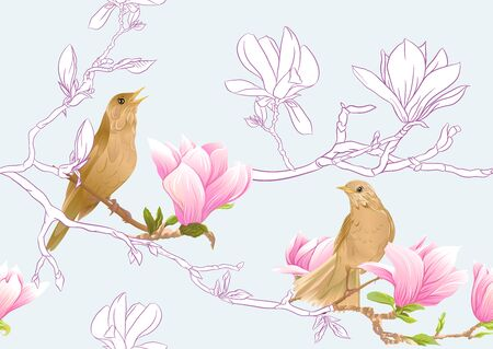 Magnolia tree branch with flowers and nightingale Seamless pattern, background. Colored and outline design. Vector illustration. On sky blue background.. Ilustrace