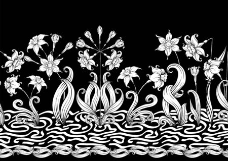 Narcissus. Seamless pattern, background. Black and white graphics. Vector illustration. In art nouveau style, vintage, old, retro style 向量圖像