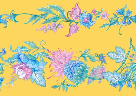 Fantasy flowers in retro, vintage, jacobean embroidery style. Seamless pattern, background. Colored vector illustration. On aspen gold yellow background..