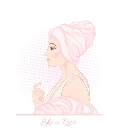 Beautiful woman 30-39 or 40-49 woman with a towel on her head. Hand drawn portrait, vector line art illustration in pink colors. Stock Vector - 136617044