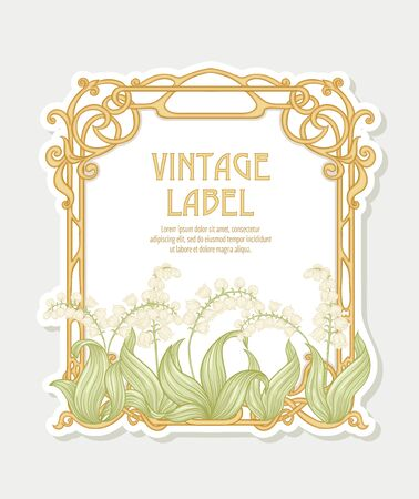 Lily of the valley. Label, decorative frame, border. Good for product label. with place for text. Vector illustration. In art nouveau style, vintage, old, retro style. Isolated on white background.. Illustration