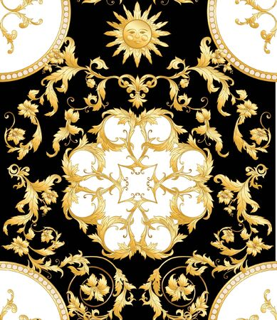 Patrón sin costuras, fondo en estilo barroco, rococó, victoriano, renacentista. Patrón vintage floral de moda. Ilustración vectorial de color Ilustración de vector