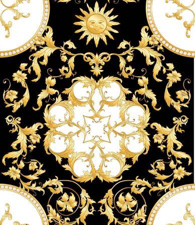 Wzór, tło W stylu barokowym, rokoko, wiktoriańskim, renesansowym. Modny kwiatowy wzór vintage. Kolorowa ilustracja wektorowa Ilustracje wektorowe