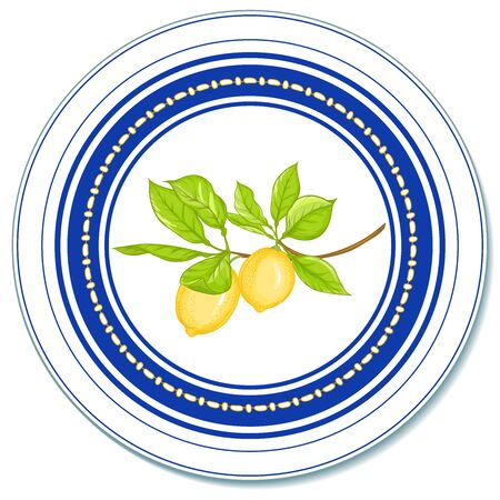 Lemon tree branch with lemons, flowers and leaves. Template for the design of napkins, plates, trays, dishes. Circular composition. With sapphire blue stripes. Vintage style. Vector illustration..