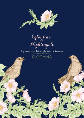 Dog-rose, briar, brier, eglantine, canker-rose and nightingale. Template for wedding invitation, greeting card, banner, gift voucher. Graphic drawing engraving style Vector illustration