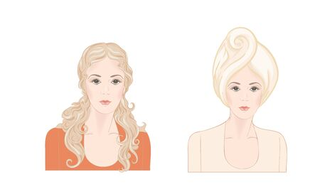 Set of two portraits of beautiful woman 30-39 or 40-49 with a towel on her head with hairstyle and makeup. Before and after. Hand drawn vector line art illustration. Stock Vector - 133928479