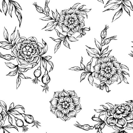 Roses Seamless pattern, background. Graphic drawing, engraving style. Vector illustration. In art nouveau style, vintage, old, retro style