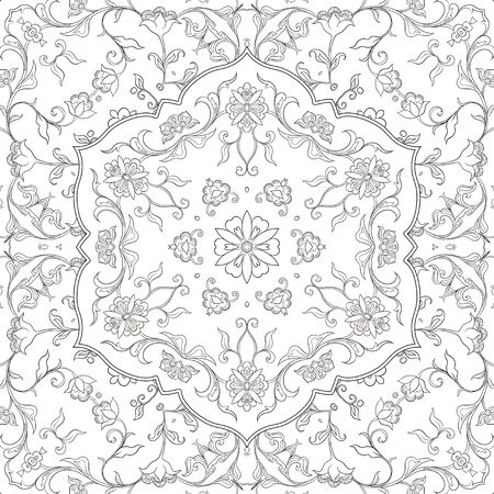 Eastern ethnic motif, traditional muslim ornament. Seamless pattern, background. Vector illustration Çizim