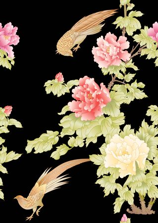 Peony tree branch with flowers with pheasants in the style of Chinese painting on silk Seamless pattern, background. Colored vector illustration. Isolated on black background.. 向量圖像