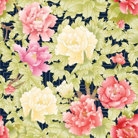 Ramo di peonia con fiori nello stile della pittura cinese su seta con imitazione del ricamo tradizionale giapponese Sashiko. Modello senza cuciture, sfondo. Illustrazione vettoriale colorata. Vettoriali
