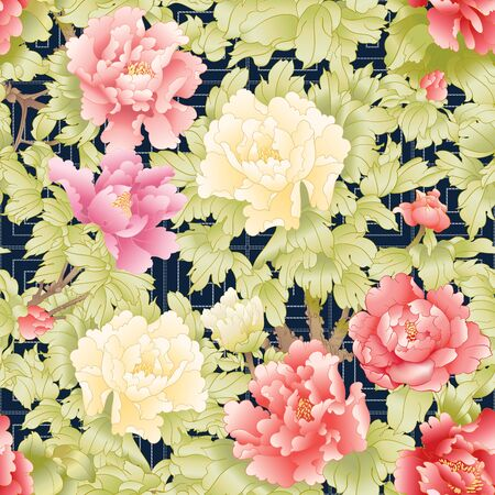 Peony tree branch with flowers in the style of Chinese painting on silk with Imitation of traditional Japanese embroidery Sashiko. Seamless pattern, background. Colored vector illustration. Illustration
