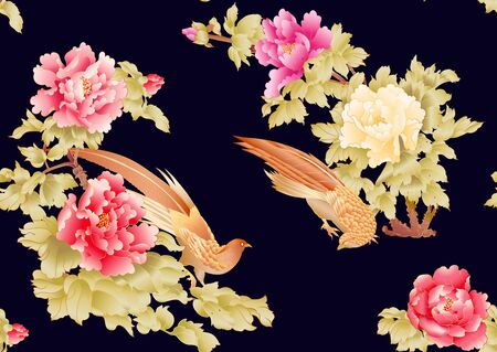 Peony tree branch with flowers with pheasants in the style of Chinese painting on silk Seamless pattern, background. Colored vector illustration. On black, dark blue background.