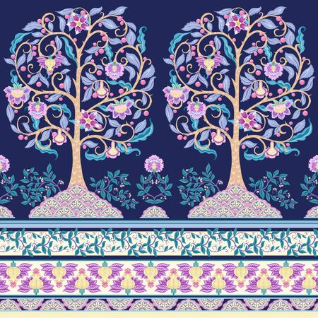 Seamless pattern with stylized ornamental flowers in retro, vintage style. Jacobean embroidery. Colored vector illustration In pink, blue, ultraviolet colors. On navy blue background.  イラスト・ベクター素材