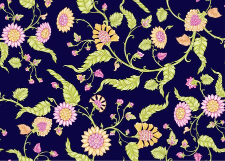 Seamless Indian floral ethnic pattern. Colored vector illustration. On navy blue background.