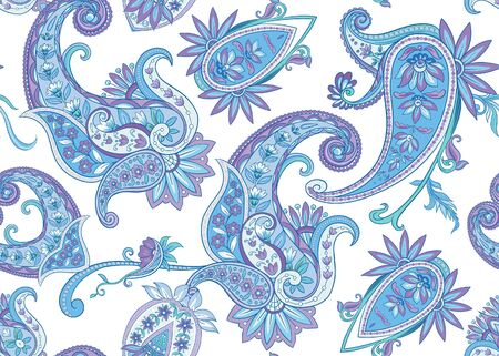 Seamless pattern, background with traditional paisley. Floral vector illustration in damask style. Colored vector illustration..