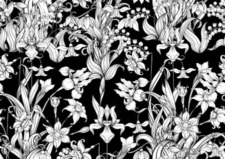 Spring flowers. Narcissus, Iris flower, lily of the valley, may-lily, Seamless pattern, background. Black and white graphics. Vector illustration. In art nouveau style, vintage, old, retro style Stock Illustratie