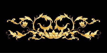 Elementos De estilo barroco, rococó, victoriano y renacentista. Patrón vintage floral de moda. Ilustración vectorial