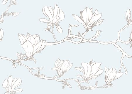 Magnolia tree branch with flowers. Seamless pattern, background. Outline hand drawing vector illustration. In vintage blue and beige colors. Ilustrace