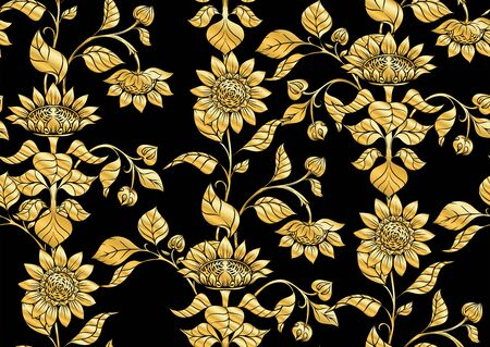 Sunflower. Seamless pattern, background. In art nouveau style, vintage, old, retro style. In gold and black