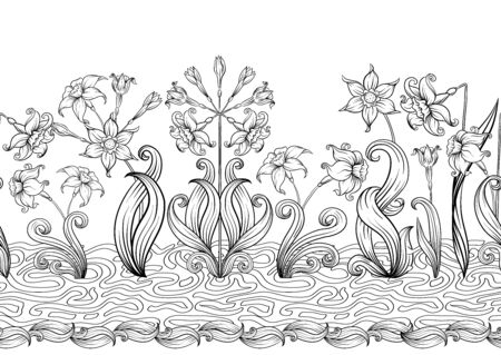 Narcissus. Seamless pattern, background. Outline hand drawing vector illustration. In art nouveau style vintage, old, retro style