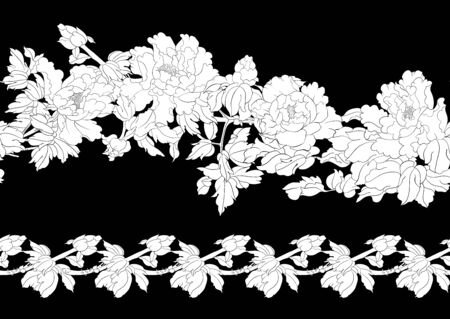 Peony tree branch with flowers in the style of Chinese painting on silk Seamless pattern, background. Outline hand drawing vector illustration. Black and white graphics. Vector illustration.
