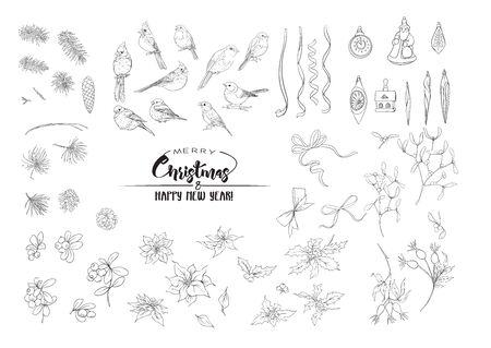Winter birds, ribbons, Christmas decoration and wreath of spruce, pine, poinsettia, dog rose, cowberry, cranberry, fir. Set of elements for design. Outline hand drawing vector illustration.. 向量圖像