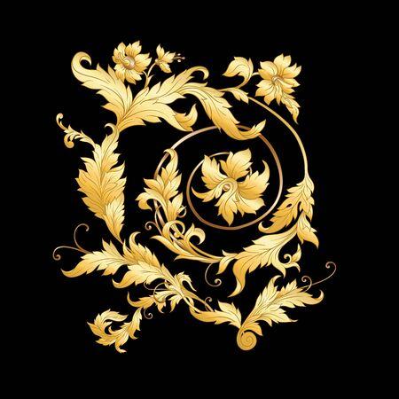Elements In baroque, rococo victorian renaissance style. Trendy floral vintage pattern. Vector illustration Ilustracje wektorowe