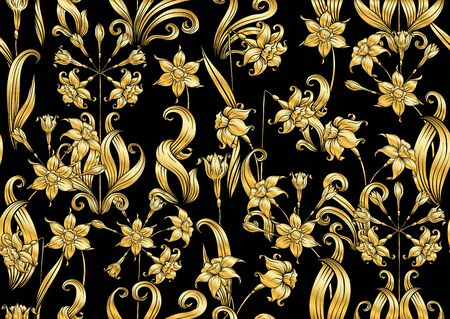 Narcissus. Seamless pattern, background. In art nouveau style, vintage, old, retro style. In gold and black..