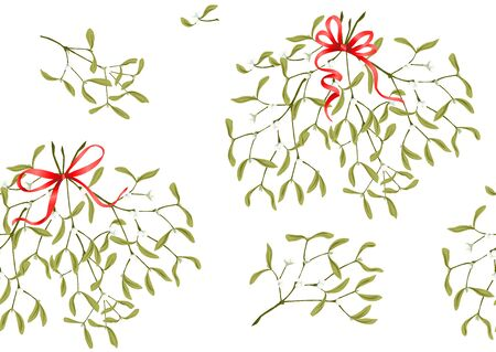 Seamless pattern, background. Mistletoe and ribbon. Colored vector illustration Illustration