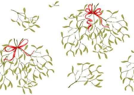 Seamless pattern, background. Mistletoe and ribbon. Colored vector illustration Illustration