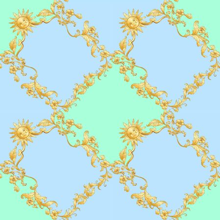 Seamless pattern in baroque, rococo, victorian, renaissance style. Trendy floral vintage pattern. Vector illustration.  イラスト・ベクター素材