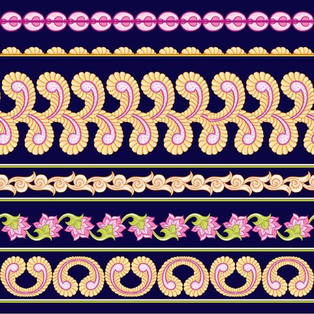 Seamless Indian floral ethnic pattern. Colored vector illustration. On navy blue background. Illustration