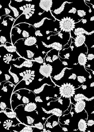 Indian ethnic pattern with stylized florwers..Vector illustration in black and white graphic. . Ilustrace