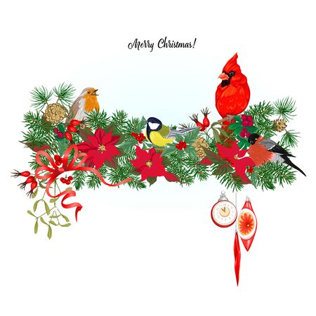 Cardinal bird and Christmas wreath of spruce, pine, poinsettia Template for card, banner, gift voucher, label. Colored vector illustration Ilustracja