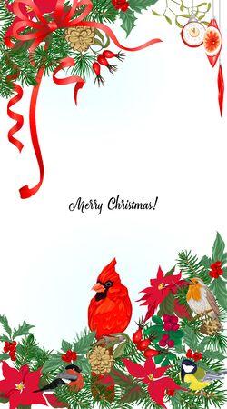 Pájaro cardenal y corona de Navidad de abeto, pino, flor de pascua Plantilla para tarjeta, banner, vale de regalo, etiqueta. Ilustración vectorial de color Ilustración de vector