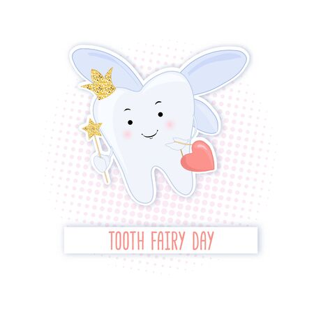 Tooth fairy. Vector cartoon illustration. Stylized tooth. Isolated on white background. Vecteurs