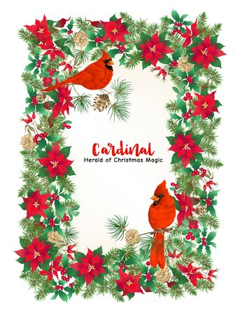 Cardinal bird and Christmas wreath of spruce, pine, poinsettia, dog rose, mistletoe, fir. Template for card, banner, gift voucher, label. Colored vector illustration 向量圖像