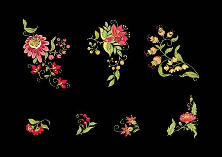 Tradition mughal motif, fantasy flowers in retro, vintage style. Element for design. Embroidery imitation.