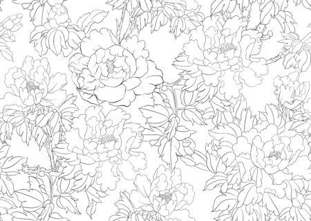 Ramo di un albero di peonia con fiori nello stile della pittura cinese su seta Modello senza cuciture, sfondo. Vettoriali