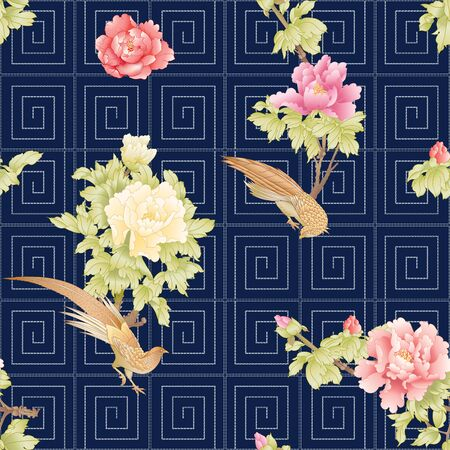 Peony tree with flowers with pheasants in the style of Chinese painting and Japanese embroidery Sashiko. Seamless pattern, background.